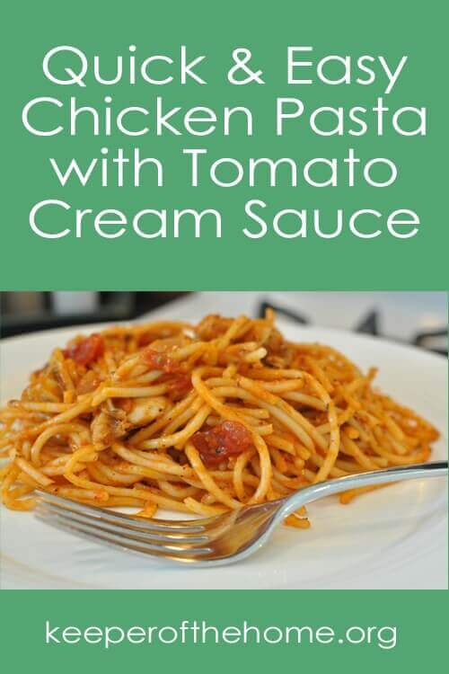 This recipe for Chicken Pasta with Tomato Cream Sauce is very easily adaptable. It can be made gluten and/or dairy free or not. It's entirely up to you! The best part though is that it's totally kid friendly and easy to whip up in a pinch!
