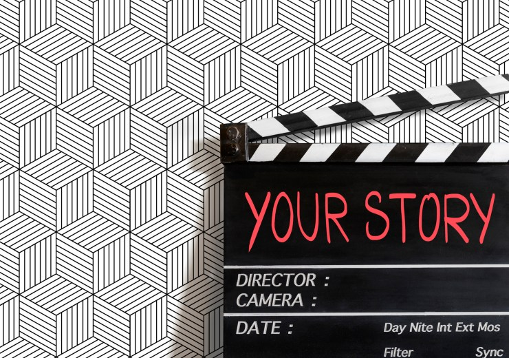 Your Story.  text title on film slate. for video marketing  development people