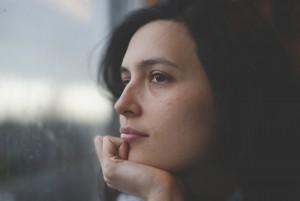 woman thinking rainy day