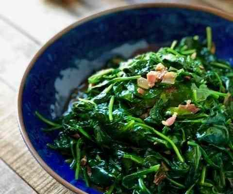 Spinach with Crispy Pancetta and Shallots