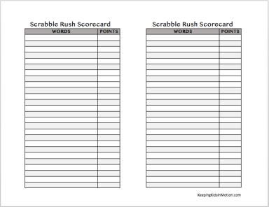 Scrabble Scorecards 4