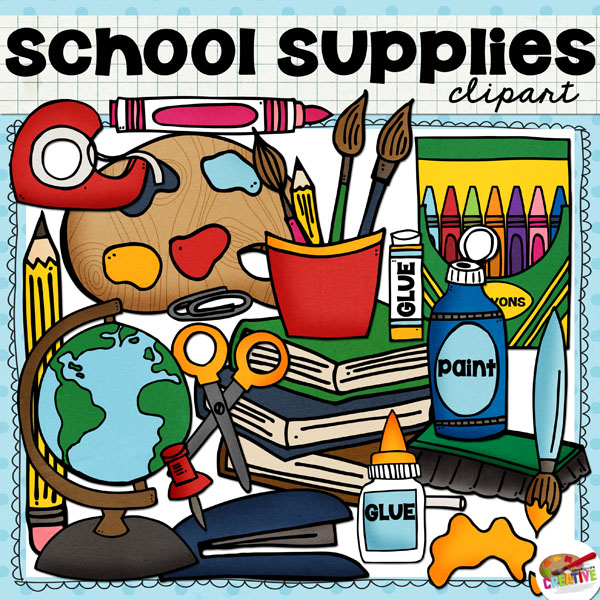 FREE School Supplies Clip Art set