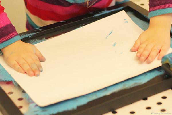 Rain Storm Art: monoprinted rain storm process art project for kids to make