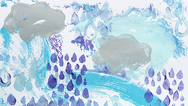 Rain Storm Monoprinted Process Art