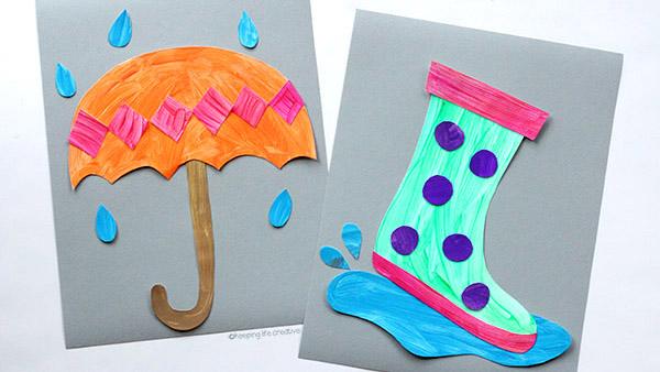 Rainy Day Umbrella and Rain Boot Craft