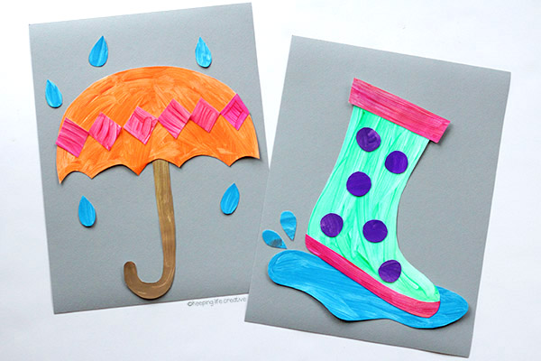 Rainy Day Umbrella Craft and Rain Boot Craft for kids to make