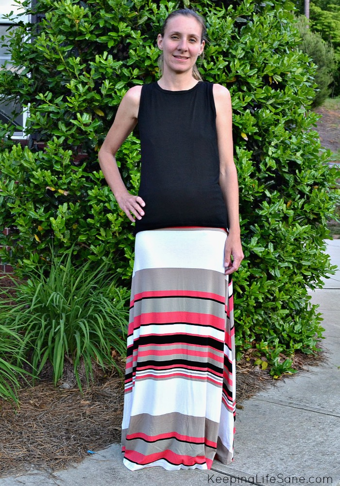 Stitch Fix May 2015 Twist back knit top with Maxi skirt