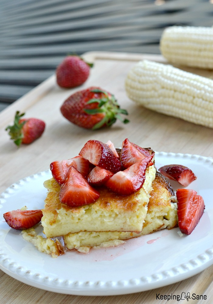 This is a great dessert for the warmer months. Corn pudding is so yummy when the corn and strawberries are in season.
