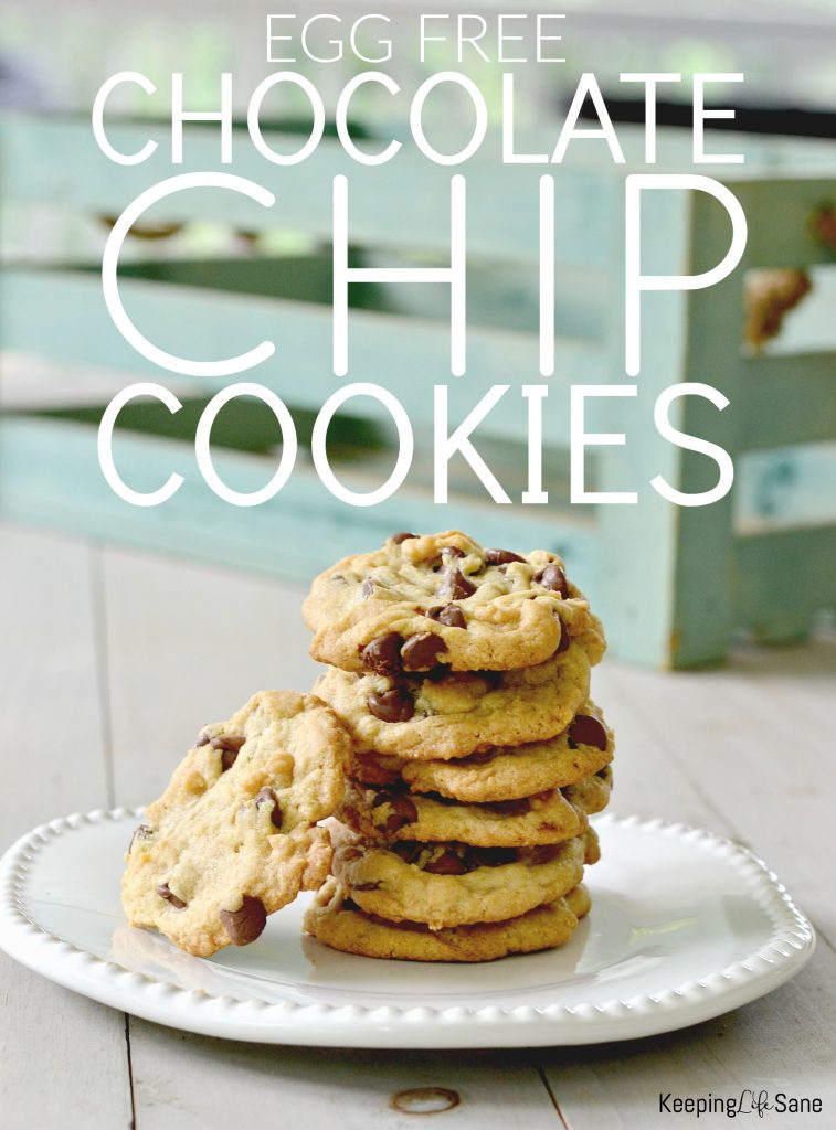 Do you have an egg allergy? Did you run out of eggs? You'll want to save this recipe. These are the BEST eggless chocolate chip cookies EVER!