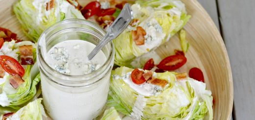 Here's a great recipe for homemade EGG FREE blue cheese dressing. It's so easy to make this and add to a delicious wedge salad!