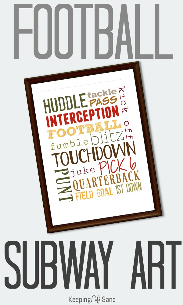 Print out this FREE football subway art for the fall. What a inexpensive way to decorate your house for the fall! #football #footballart #footballprintable #Subwayart #Footballsubwayart #printable #freeprintable #printable #Fall
