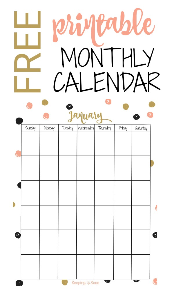 photograph regarding Vertical Calendar Printable referred to as No cost vertical Printable Month-to-month Calendar - Trying to keep Lifestyle Sane