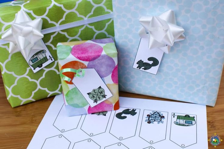 Camping Gift Tags Free Printables for Holidays and Birthdays