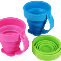 Yilove Collapsible Silicone Travel Cups with Handle,Pop up Drinking Cups for Traveling and Camping 200ml,Set of 3 (Pink Green Blue)