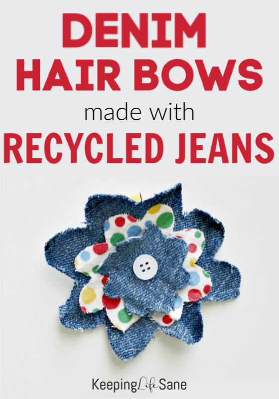 Everyone has some old jeans laying around their house. Don't let them go to waste and make this denim hair bow with recycled jeans.