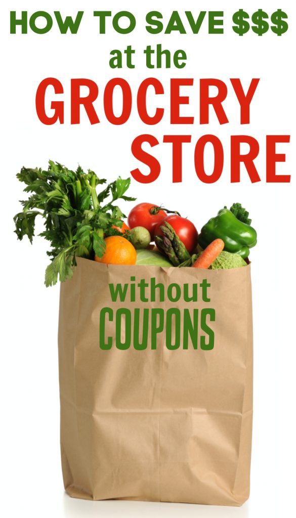 These 9 tips will teach you how to save money at the grocery store without using coupons. Perfect for busy families looking to save a few dollars each week.