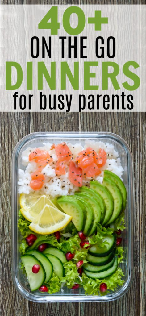 Over 40 to go recipes for parents and kids so you can eat healthy meals on busy days. You can still get to games, lessons AND still have a great dinner.