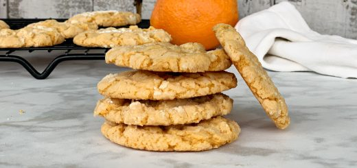 view of stacked up orange cookies