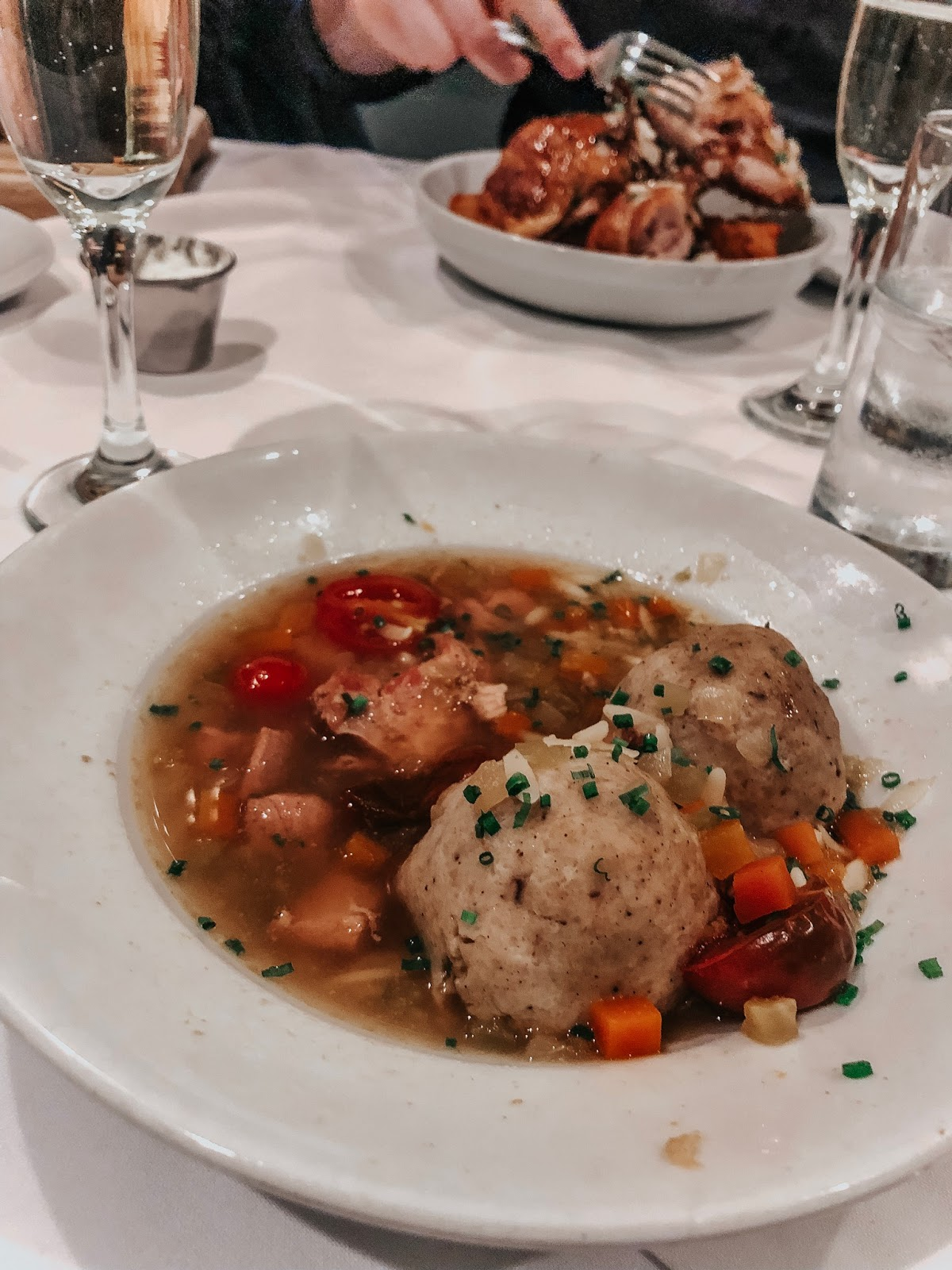 Matzo Ball & Roast Chicken Soup for dinner from Luke's in New Orleans