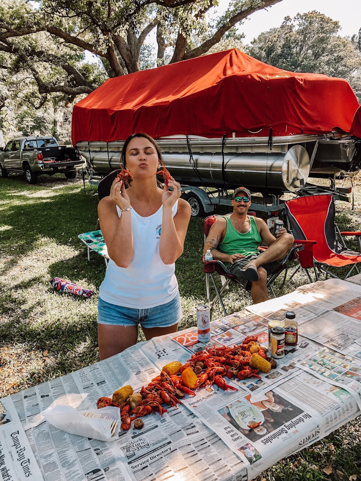Tampa bay blogger at a crawfish boil in Largo, Florida