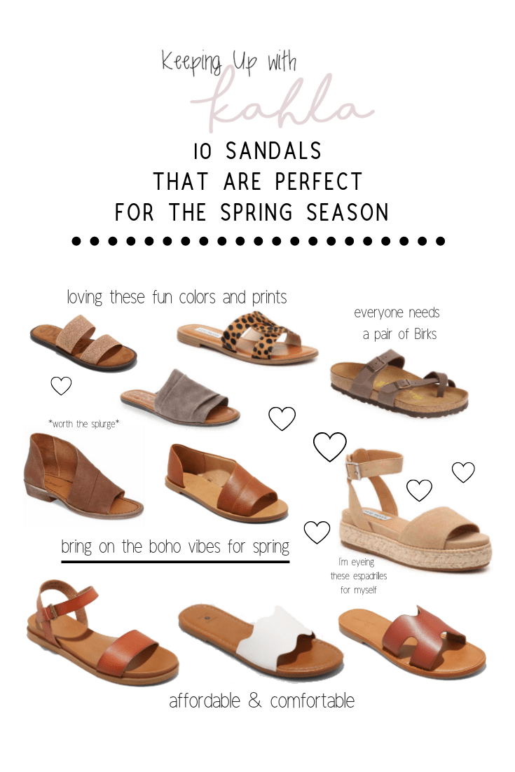 The ten sandals you need for this gorgeous spring weather. From peep toes, to leopard print, to rose gold, and match-all options. These sandals will have you covered for all of the spring activities.
