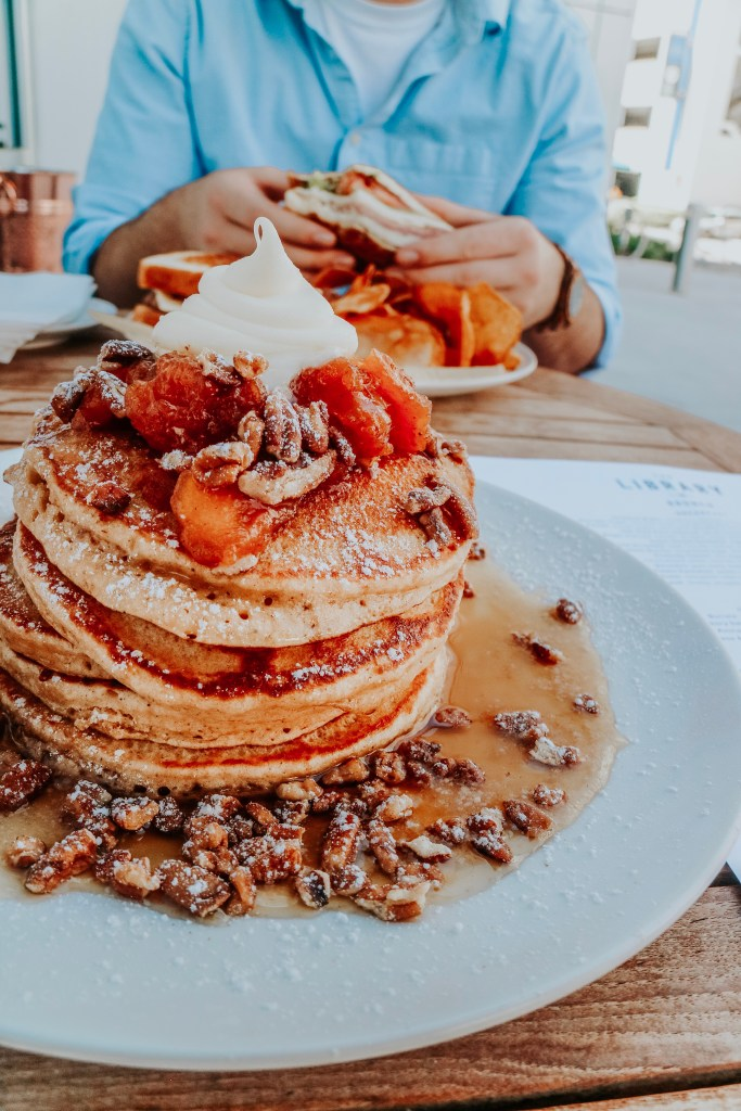 The Sweet Potato Pancakes served at The Library in St. Petersburg, Florida