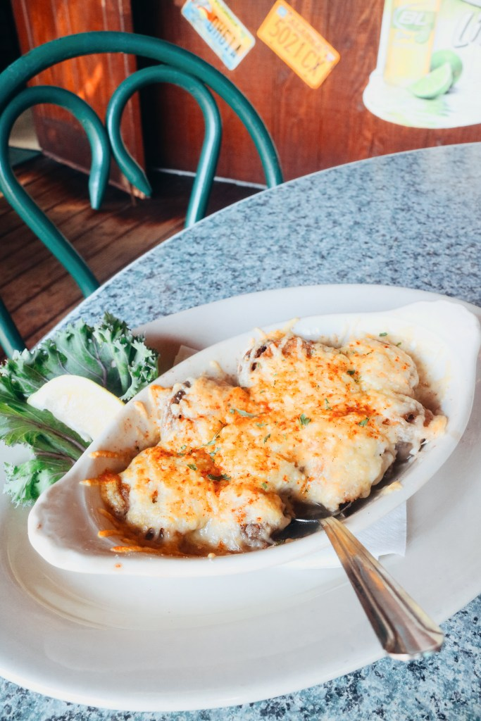 The crab stuffed mushrooms from Cooters Restaurant and Bar on Clearwater Beach