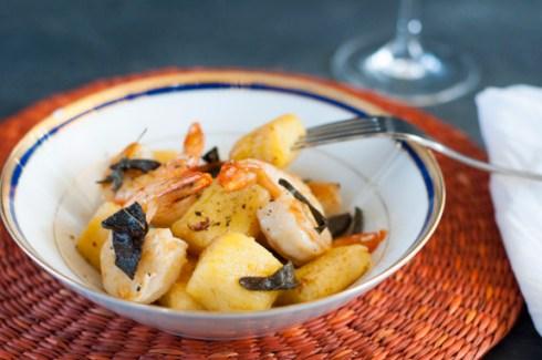 gluten free gnocchi with prawns