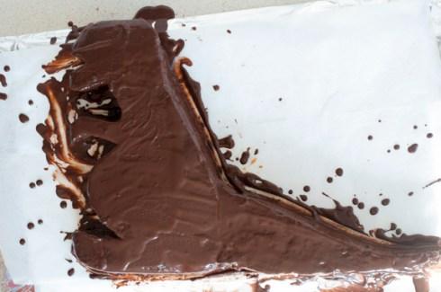 chocolate on dinosaur lamington cake