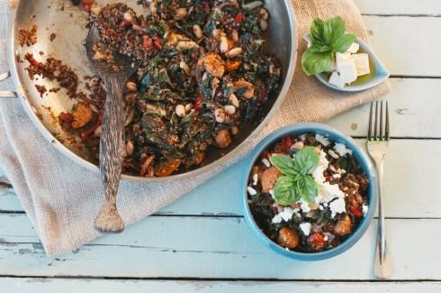 chorizo, silverbeet and quinoa pilaf