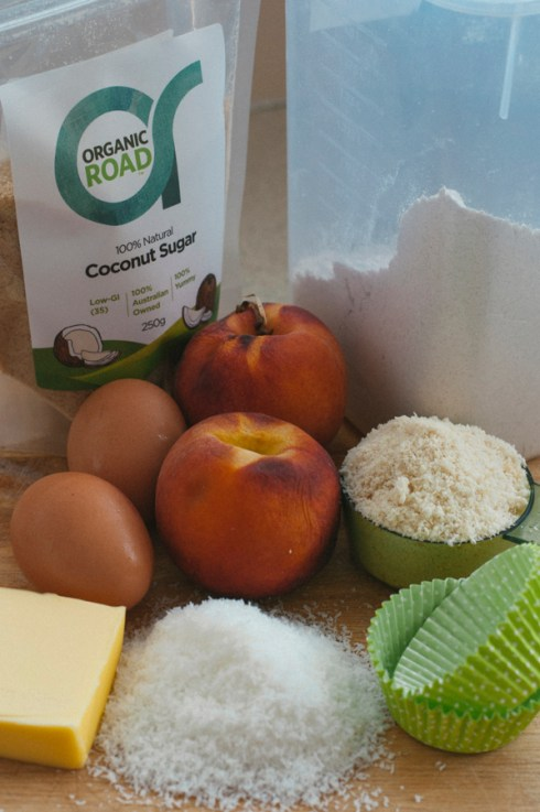 Coconut almond and peach recovery cakes ingredients