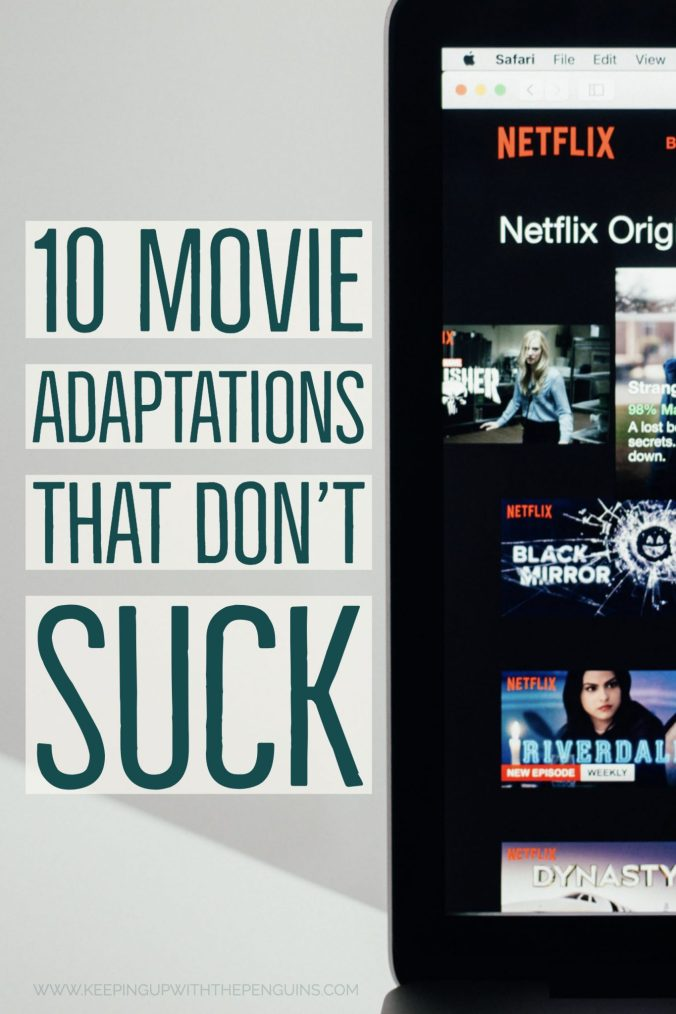 Movie Adaptations That Don't Suck - text alongside a laptop screen showing a Netflix homepage - Keeping Up With The Penguins