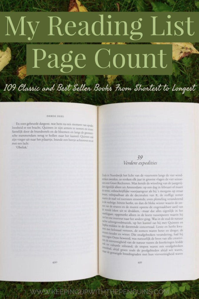 My Reading List Page Count - 109 Classic and Best Seller Books from Shortest to Longest - Text Overlaid on Image of Open Book on Grass and Leaves - Keeping Up With The Penguins