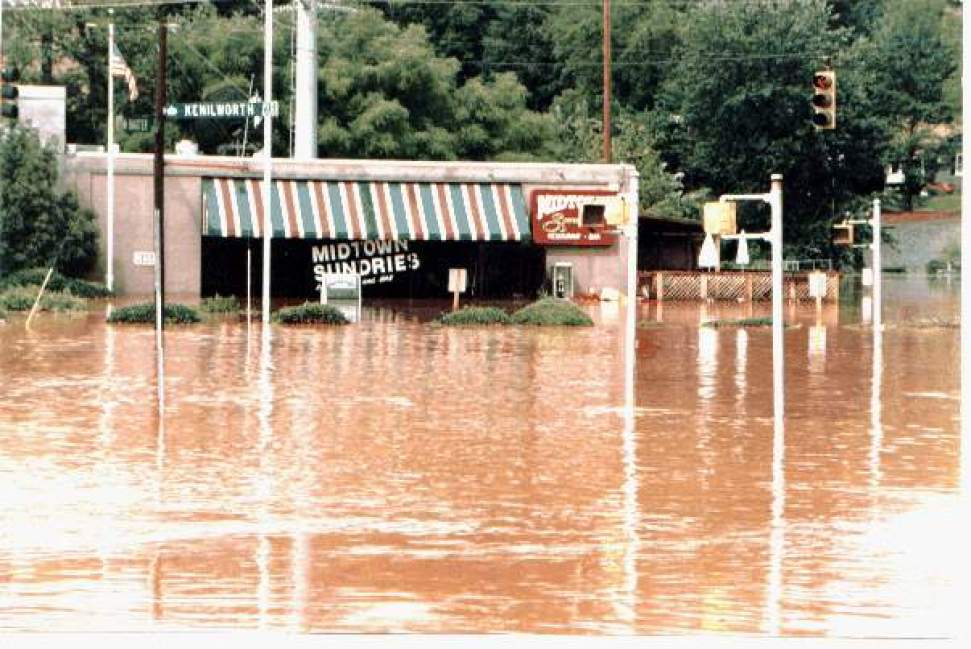Now demolished, Midtown Sundries on Kenilworth Avenue flooded regularly. Photo: Charlotte-Mecklenburg Storm Water Services