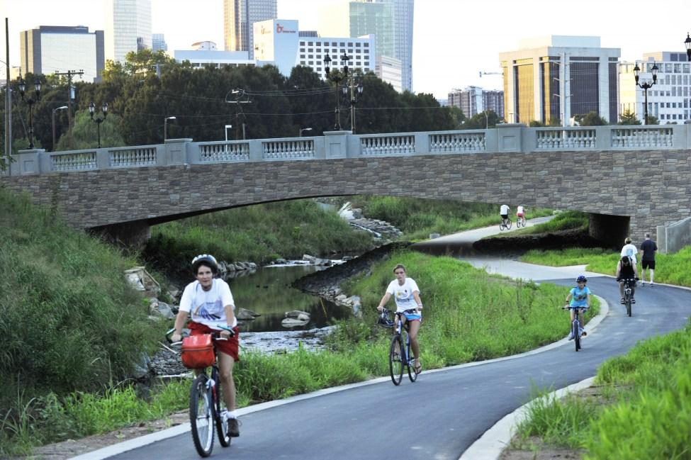 Opened in 2010, the uptown segment of the Little Sugar Creek Greenway brings people near the water. Photo: Nancy Pierce