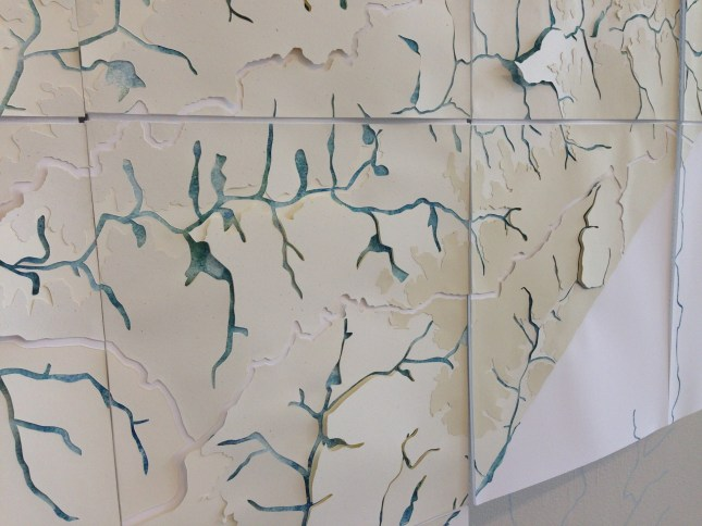 A close view of Lauren Rosenthal's Mecklenburg Creeks Drawing shows the layers of paper and paint. Photo: Mary Newsom