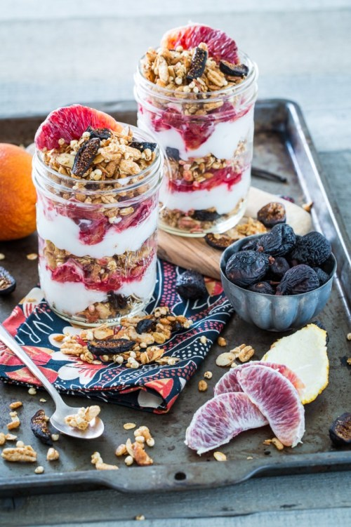 Vanilla Almond Fig Granola Parfaits with Blood Oranges