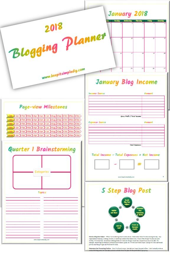 2018 Blogging Planner