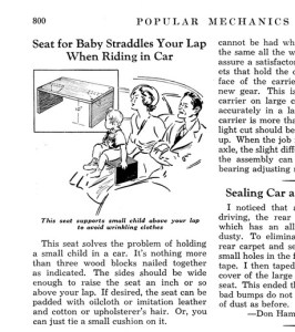In 1938, Popular Mechanics offered instructions on making your own car seat.