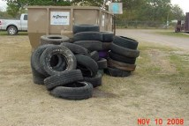 Tires waiting to be taken to the recycling center