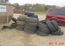 Tires waiting to be taken to the recycling center.