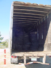 Tires loaded up to be taken to the recycling center.