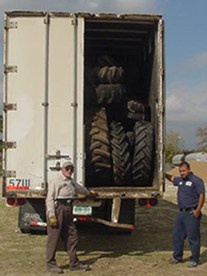 Tires ready to go to the recycling center
