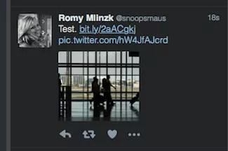 Link zum Medium ist auf manchen Clients sichtbar (hier: Tweetdeck)