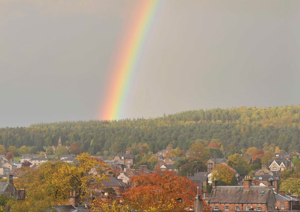 A rainbow brightens up Penrith on an overcast October afternoon.