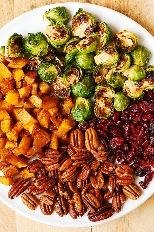Roasted Brussels Sprouts, Cinnamon Butternut Squash