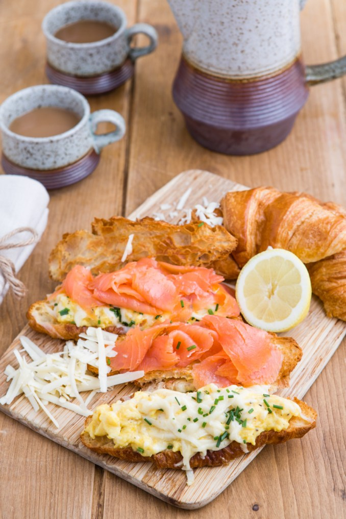 Smoked Salmon with Scrambled Eggs on Croissants