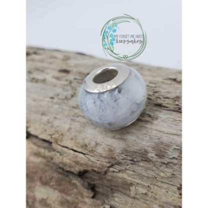 large bead with heart stamped inserts
