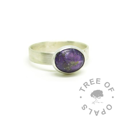 purple ashes jewellery, ashes ring on 3mm brushed band with orchid purple resin sparkle mix, high purity 935 Argentium solid silver