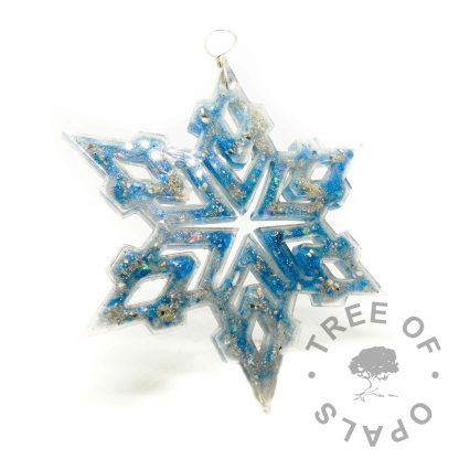 Aegean blue cremation ashes snowflake ornament for Christmas. Memorial ornament